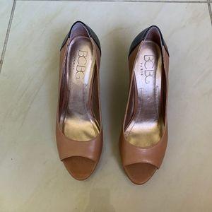 BCBG Paris Irinax Leather Peep-Toe Wedges 9.5